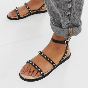 Asos studded espadrilles black sandals
